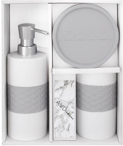Komplet łazienkowy VIVAN biało-szary