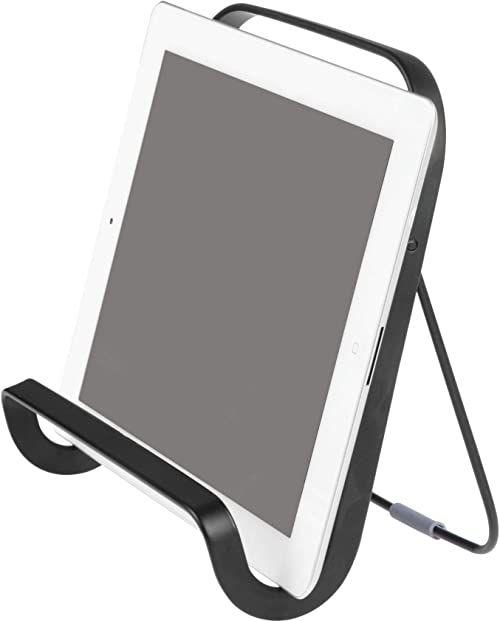 iDesign Uchwyt na tablet, nowoczesny uchwyt na książkę kucharską z metalu na blat kuchenny, stojak na tablet, czarny matowy