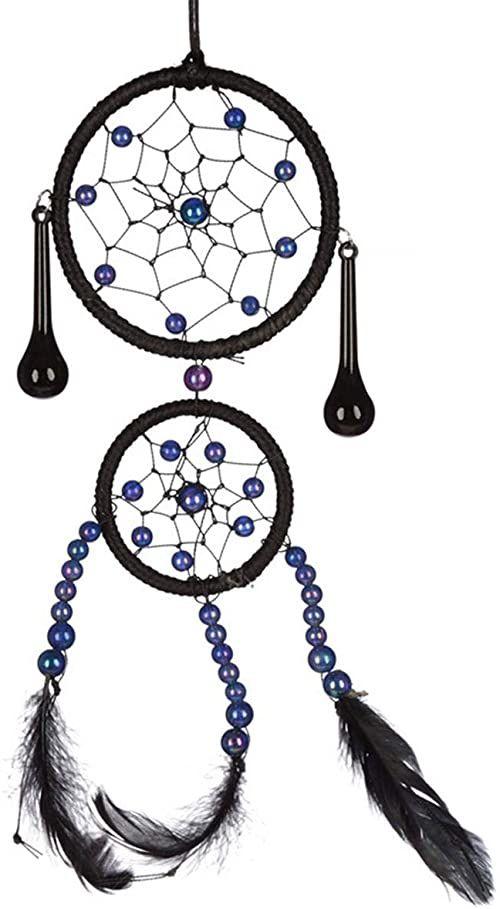 Puckator dekoracyjny tkany czarny łapacz snów, Multi, wysokość 21 cm szerokość 8 cm głębokość 1 cm średnica obręczy 5-7 cm