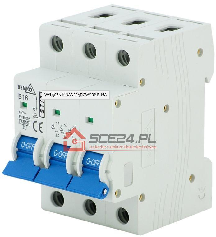 Wyłącznik nadprądowy 3P C 16A bezpiecznik 3F