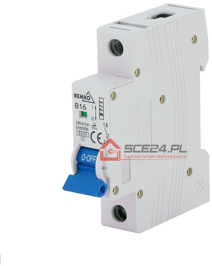 Wyłącznik nadprądowy 1P C 16A bezpiecznik 1F