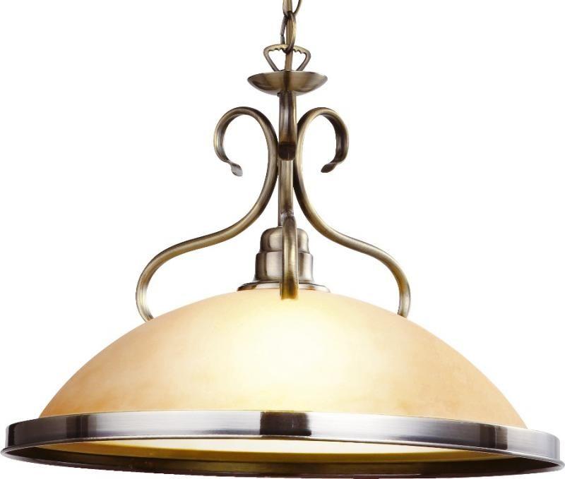 Globo lampa wisząca Sassari 6905 patyna szkło bursztynowe 41cm