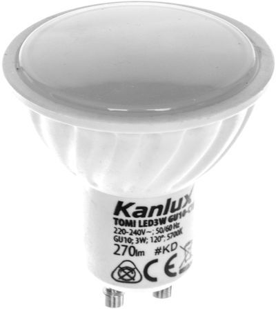 Żarówka LED 3W GU10 220-240V AC zimna barwa 270lm TOMI LED3W GU10-CW LAMPA LED 22703