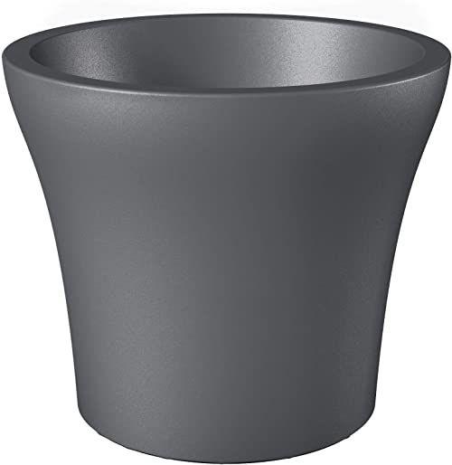 Scheurich No. 1 Style, donica na rośliny z tworzywa sztucznego, kolor metaliczny szary, średnica 30 cm, wysokość 24,7 cm, pojemność 10 l.