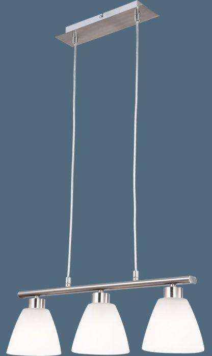 Globo lampa wisząca Illimani 68615-3 nikiel mat, szkło alabastrowe białe 53cm