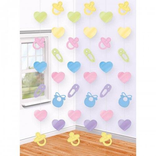 Dekoracja pionowa na baby Shower, Gender Reveal Party, 6 szt.