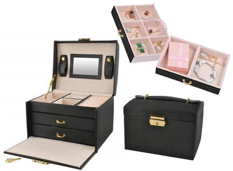 Kuferek na biżuterię z małym lusterkiem i szufladkami czarny