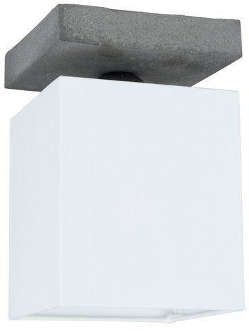 Lampa sufitowa GREAT 1-punktowa lampa o szarej betonowej podstawie z materiałowym abażurem 2241136