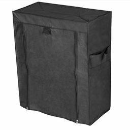 PrimeMatik szafa na ubrania i szafka na buty z materiału, zdejmowana, 60 x 30 x 76 cm, czarna z rolowanymi drzwiami (DX071), 60 x 30 x 76 cm