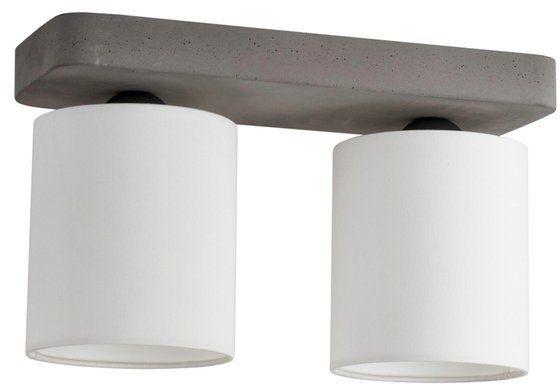 Lampa sufitowa GENTLE 2-punktowa lampa szara betonowa podstawa z materiałowym abażurem 2321236
