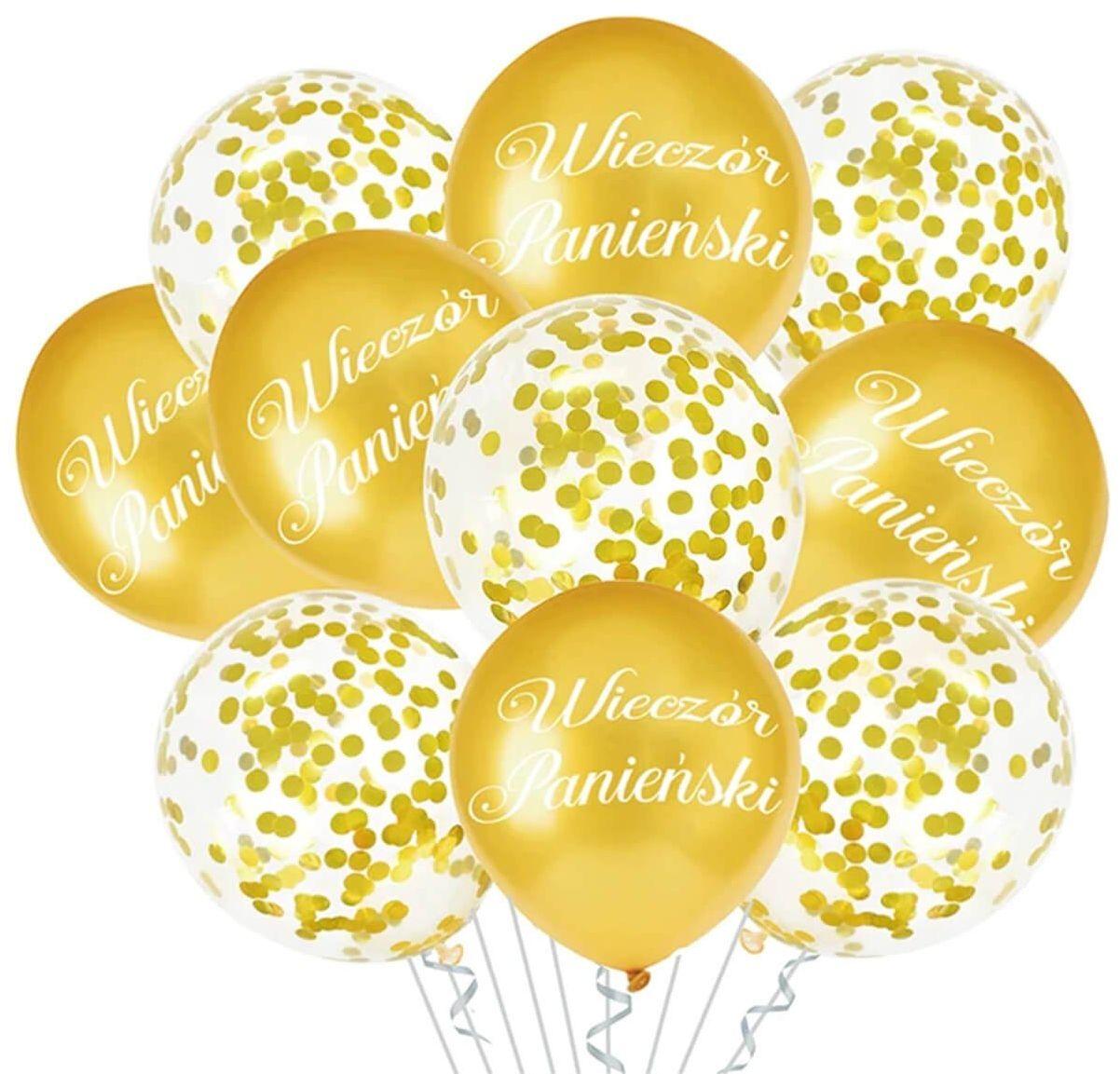 Zestaw balonów na wieczór panieński złoty - 30 cm - 10 szt.