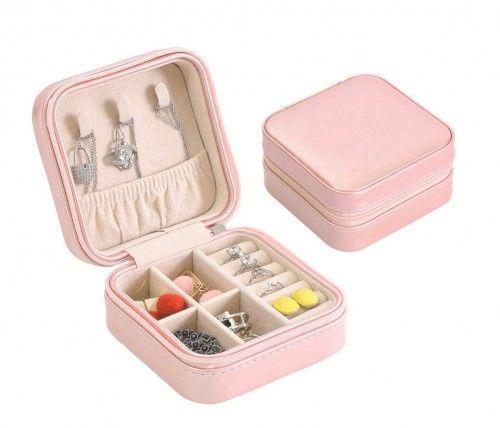 Podróżna mała szkatułka na biżuterię pudrowo-różowa