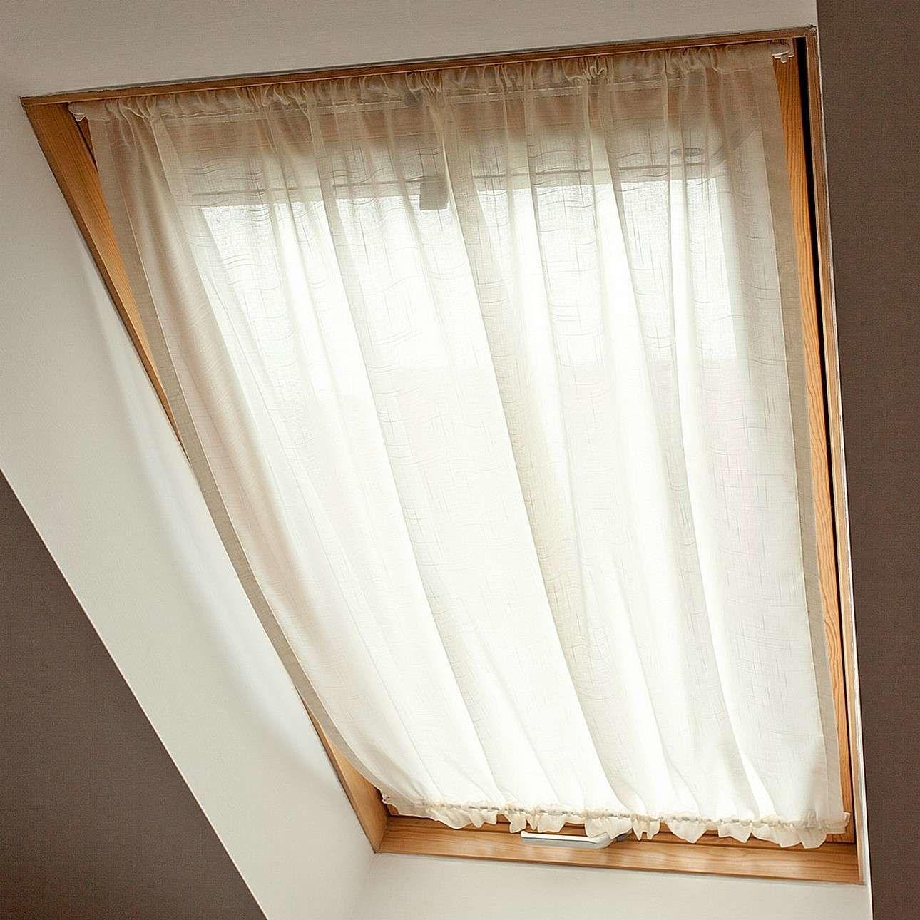 Zasłonka na okno dachowe, prześwitująca, ecru, 110  126+3 cm grzywka, Romantica
