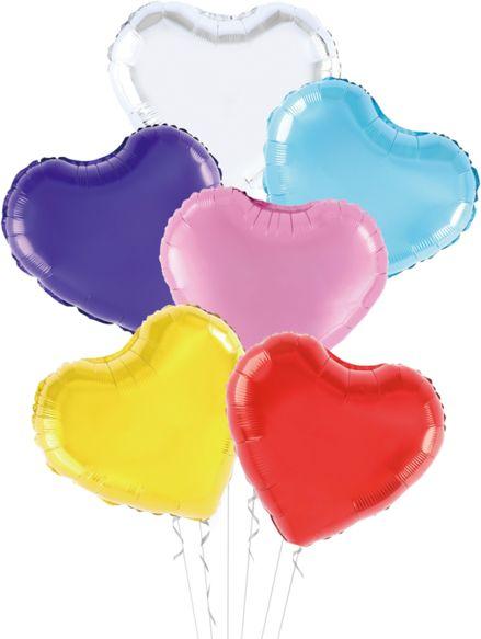 Balony foliowe kolorowe serca ok.45 cm 6 sztuk 460408-serca
