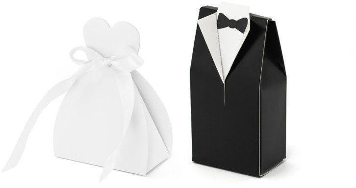 Pudełeczka dla gości weselnych Suknie i Fraki 20 sztuk PUDP1-K-MA