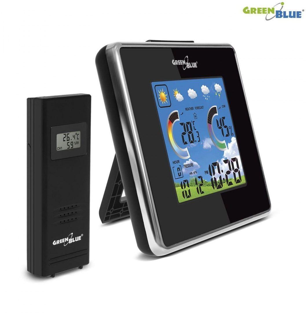 Stacja pogody bezprzewodowa GreenBlue GB145 temperatura, wilgotność, barmoter, ładowarka USB, czarna