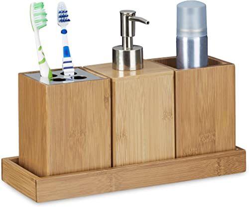 Relaxdays Zestaw akcesoriów łazienkowych 4-częściowy, bambus, pojemnik na szczoteczki do zębów, dozownik mydła, pojemnik, naturalny