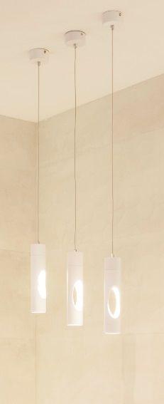 Maxlight GOLDEN P0177 lampa wisząca biała wąski metalowy walec otwór 1x5W LED 3000K 5,5cm