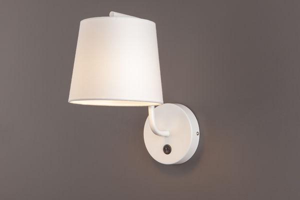 Maxlight CHICAGO W0193 kinkiet lampa ścienna metalowa abażur tkanina biały 1x40W E27 32cm