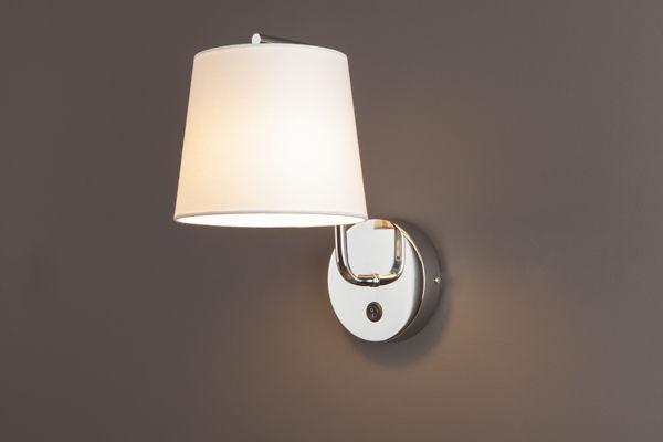 Maxlight CHICAGO W0195 kinkiet lampa ścienna metalowa chrom abażur tkanina biały 1x40W E27 32cm