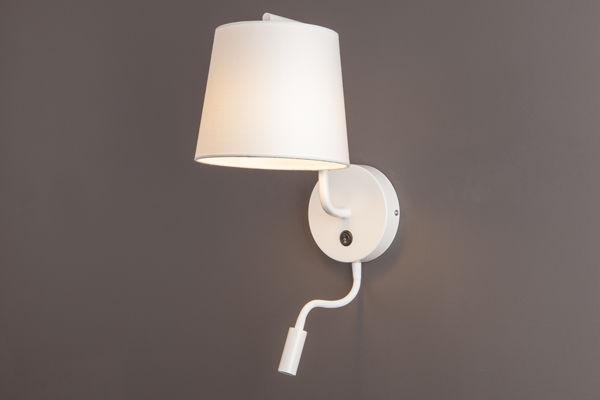 Maxlight CHICAGO II W0196 kinkiet lampa ścienna metalowa abażur tkanina biały 1x40W E27 + 1x3W LED 32cm