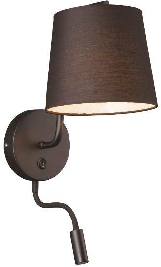 Maxlight CHICAGO II W0197 kinkiet lampa ścienna abażur czarny włącznik 1x40W+ 1x3W LED E27 32cm
