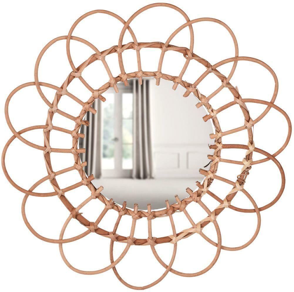 Lustro wiklinowe plecione BOHO w wiklinowej ramie okrągłe 49 cm