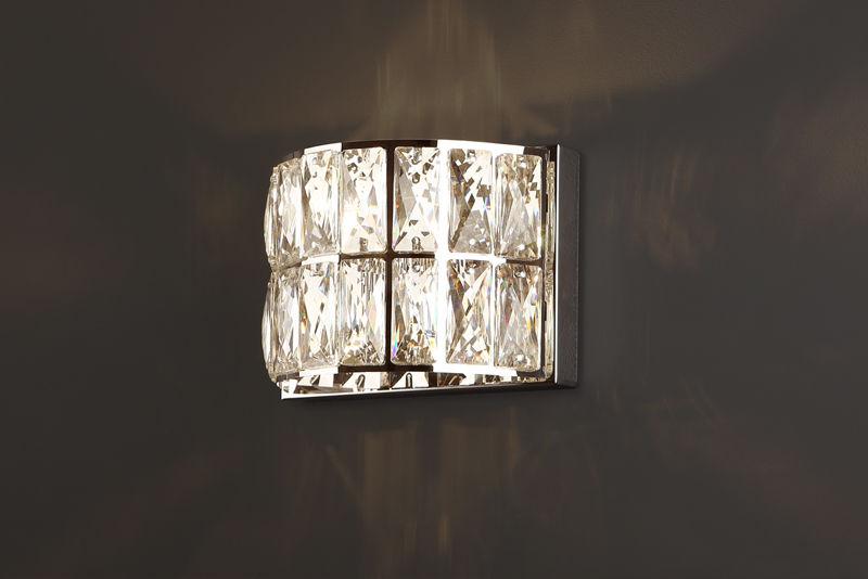 Maxlight DIAMANTE II W0204 kinkiet lampa ścienna metalowa szklane kryształy 1x42W G9 12cm