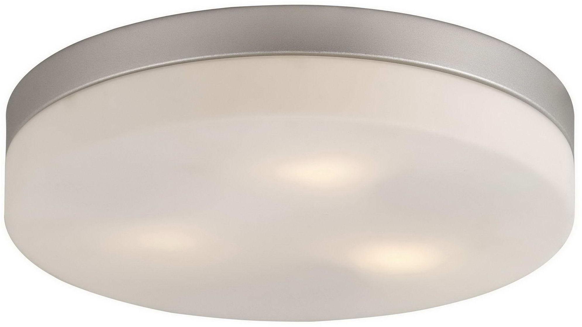 Globo plafon lampa sufitowa Vranos 32113 aluminium srebrny metalik, szkło opalizowane, IP44 30cm