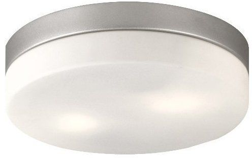 Globo plafon lampa sufitowa Vranos 32111 aluminium srebrny metalik, szkło opalizowane, IP44 18,5cm