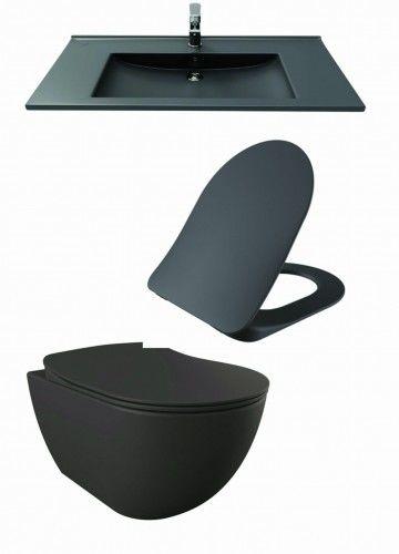Antracytowy zestaw ceramiki Miska WC podwieszana 352x340x510 mm z deską soft close+Umywalka 100x45 cm Creavit