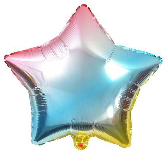 Balon foliowy tęczowa Gwiazdka 45cm 1 sztuka BLF5719GWI