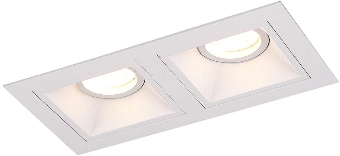 Maxlight Hit II H0081 oprawa do wbudowania podtynkowa metalowa biała podwójna 2x50W GU10 21,5cm