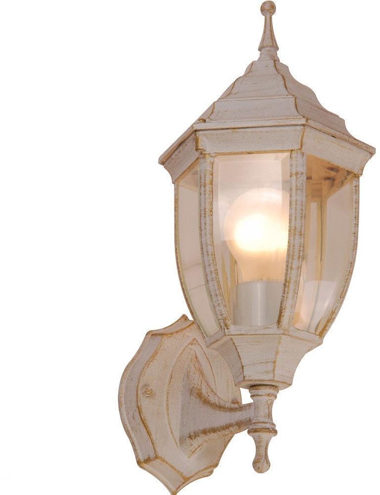 Globo kinkiet lampa ścienna Nyxi 31720 aluminium białe ze złotym dekorem, patyna, szkło czyste, IP44