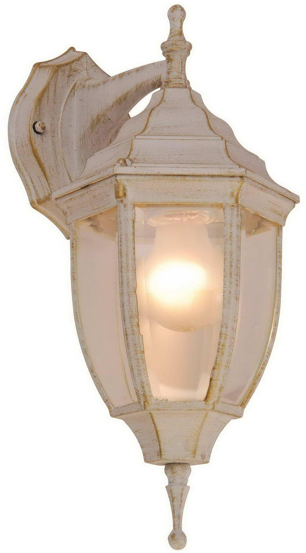 Globo kinkiet lampa ścienna Nyxi 31721 aluminium białe ze złotym dekorem, patyna, szkło czyste, IP44