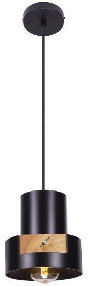 Maxlight C-Linder P0349 lampa wisząca czarna matowa metalowy cylinder element drewniany industrialna 1x40W E27 16,5cm