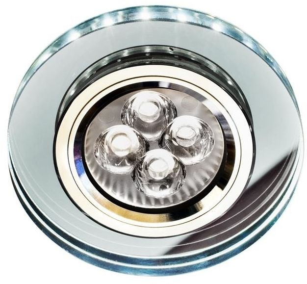 SS-23 CH/TR+WH GU10 50W+LED SMD 230V BIAŁY 2 1W CHROM oczko sufitowe lampa sufitowa STAŁA OKRĄGŁA SZKŁO TRANSPARENTNE