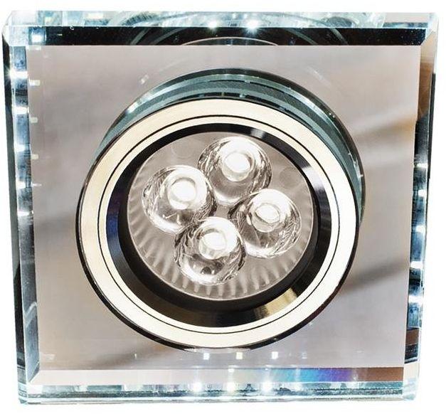 SS-22 CH/TR+WH GU10 50W+LED SMD 2 1W BIAŁY 230V CHROM oczko sufitowe lampa sufitowa. STROP. STAŁA KWADRATOWA SZKŁO TRANSPARENTNE