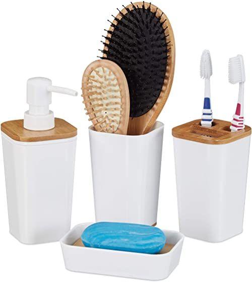 Relaxdays zestaw akcesoriów łazienkowych, 4-częściowy, nowoczesny, kubek do mycia zębów, mydelniczka i dozownik mydła, tworzywo sztuczne i bambus, biały