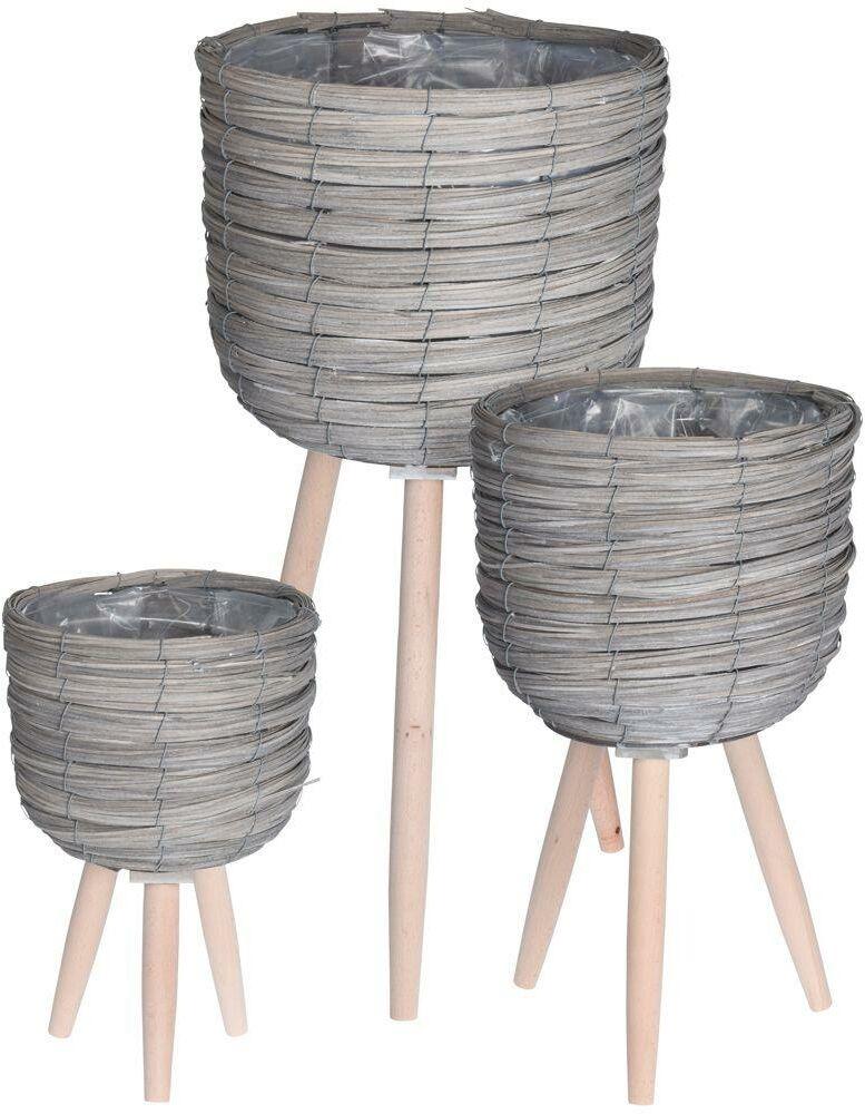 Kwietnik, stojak, doniczka drewniana, pleciona, osłonka, podstawa, 3 sztuki