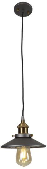 Maxlight Haga P0321 lampa wisząca szary mosiądz metalowa industrialna 1X40W E27 19cm