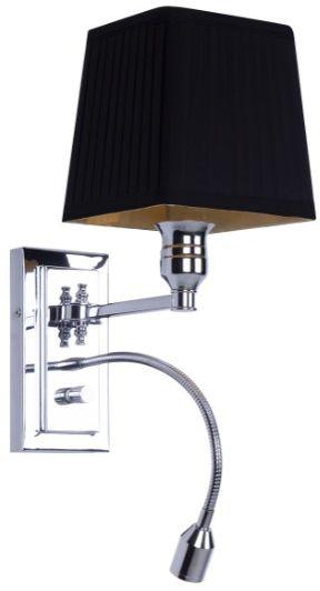 Maxlight Lord W0235 kinkiet lampa ścienna elegancki chrom abażur czarny kanciasty ściemnialna 1x40W E27+ 1x1W LED 31,5cm