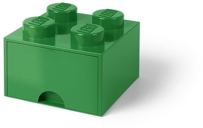Room Copenhagen 40051734 Storage Brick 4 z szufladami, plastik, zielony, 25 x 25,2 cm