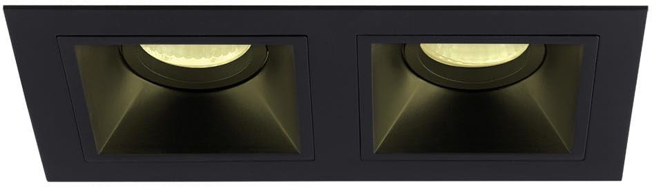 Maxlight Hit II H0091 oprawa do wbudowania podtynkowa metalowa podwójna czarna 2x50W GU10 21,5x11,5cm