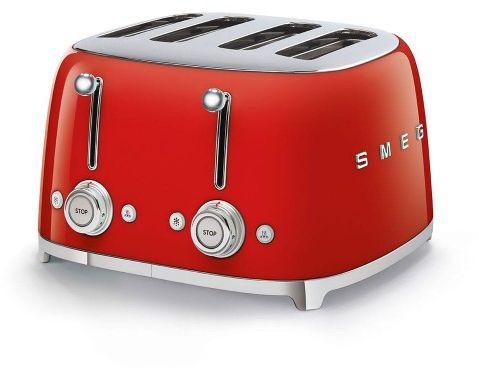 Toster na 4 kromki SMEG czerwony szeroki