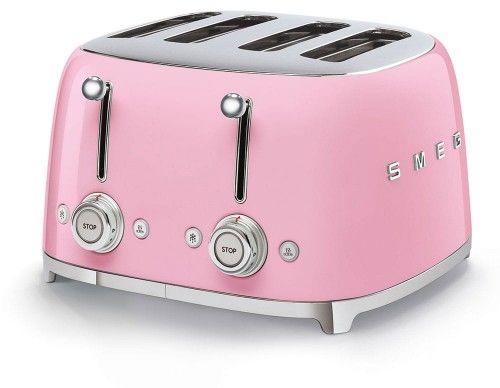 Toster na 4 kromki SMEG różowy szeroki