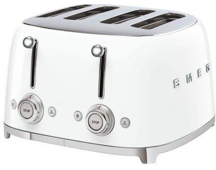 Toster na 4 kromki SMEG biały szeroki