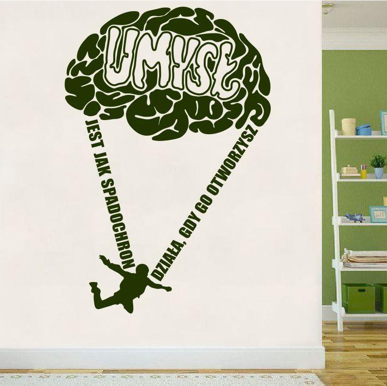 Umysł jest jak spadochron działa, gdy go otworzysz- naklejka na ścianę