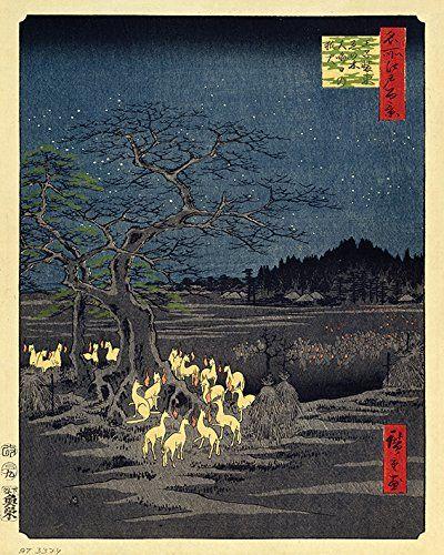 Pyramid Generic Fox Fires on New Year''s Eve at The Changing Tree in Oji 40 x 50 cm Canvas Print Print na płótnie, wielokolorowy, 40 x 50 cm