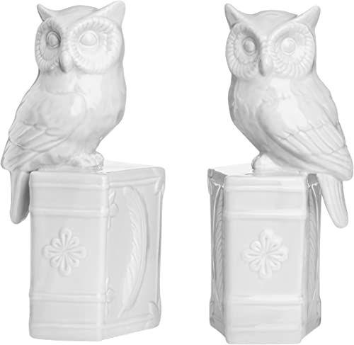 Premier Housewares Design książek z sową na książce, ceramiczne  zestaw 2 sztuk, białe